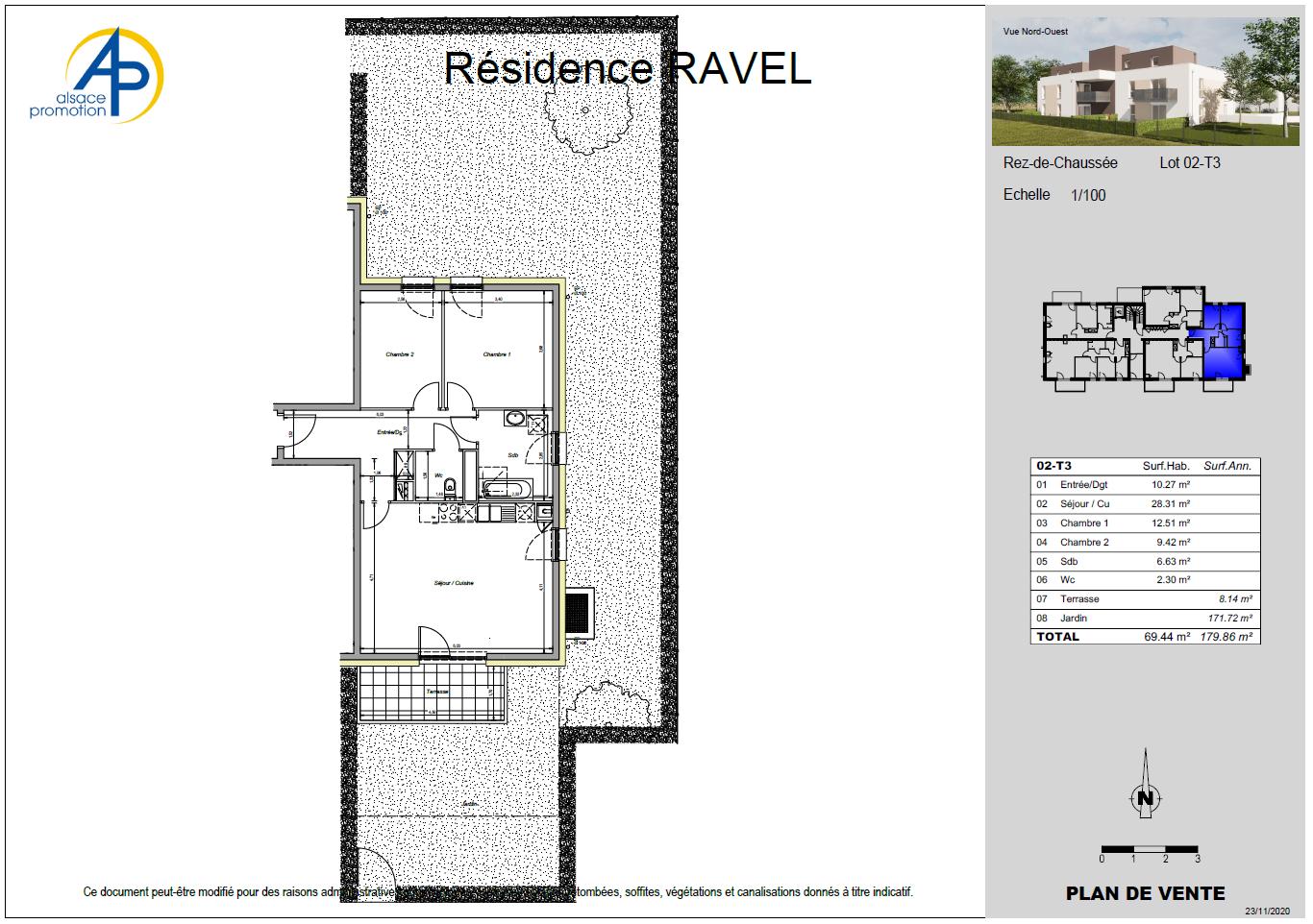 Appartement neuf 3 pièces en rez de jardin